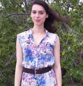 sewing linen floral shirtdress
