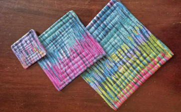 comically undersized quilted coasters