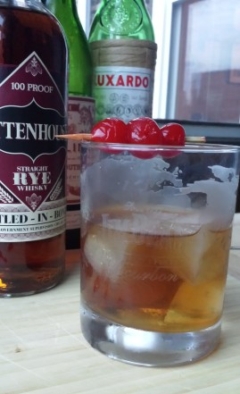 rye manhattan cocktail recipe with luxardo ice cubes