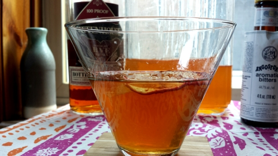apple brandy and rye whiskey cocktail