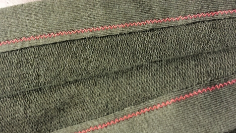 opposite side of the twin needle hem