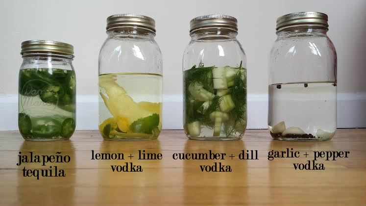 infused vodka and tequila