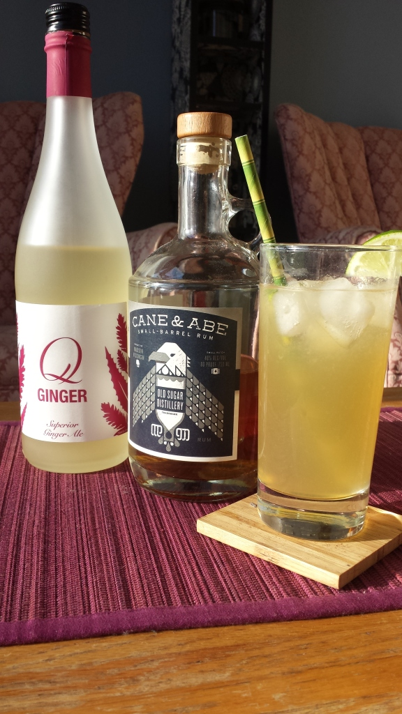 dark and stormy with Q ginger, cane & abe rum, and lime juice