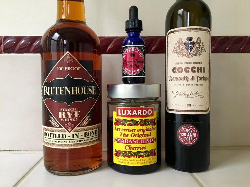rittenhouse rye luxardo maraschino cherries cocchi vermouth