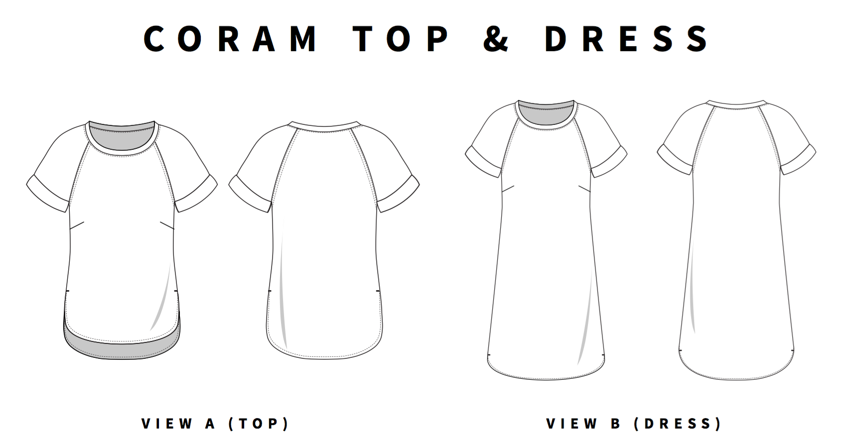 coram top and dress line drawings